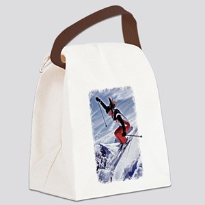 Skiing Down the Mountain in Red Canvas Lunch Bag