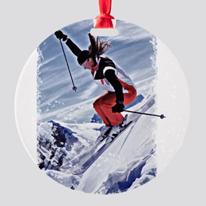 Skiing Down the Mountain in Red Round Ornament