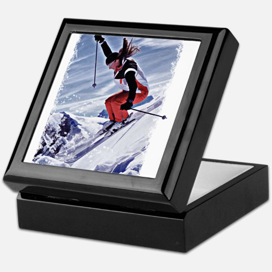 Skiing Down the Mountain in Red Keepsake Box