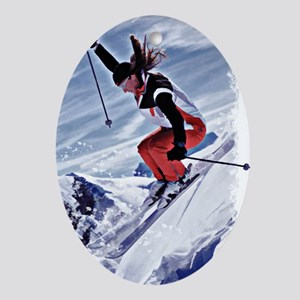 Skiing Down the Mountain in Red Oval Ornament