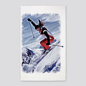 Skiing Down the Mountain in Red Area Rug