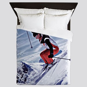 Skiing Down the Mountain in Red Queen Duvet