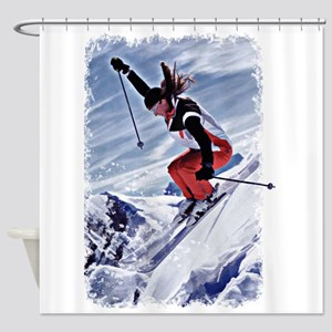 Skiing Down the Mountain in Red Shower Curtain