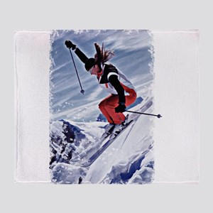 Skiing Down the Mountain in Red Throw Blanket