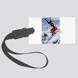 Skiing Down the Mountain in Red Large Luggage Tag