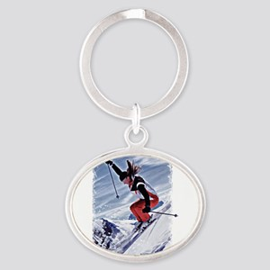 Skiing Down the Mountain in Red Keychains