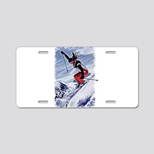 Skiing Down the Mountain in Aluminum License Plate