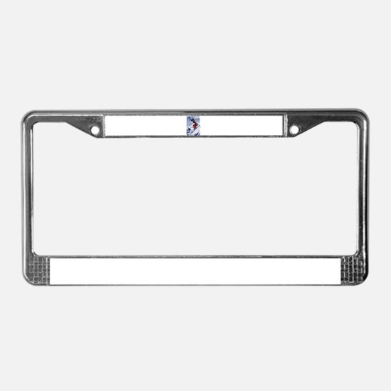 Skiing Down the Mountain in Re License Plate Frame