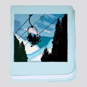 Chairlift full of Skiers baby blanket