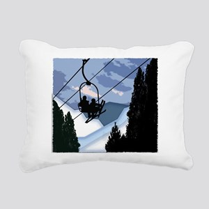 Chairlift full of Skiers Rectangular Canvas Pillow