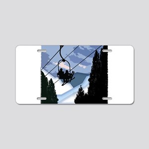Chairlift full of Skiers Aluminum License Plate