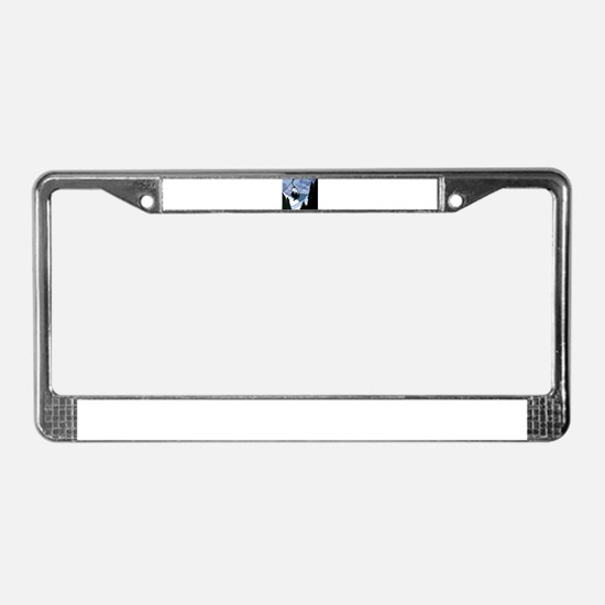 Chairlift full of Skiers License Plate Frame