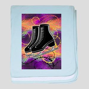 Black Ice Skates and Technicolor Swir baby blanket