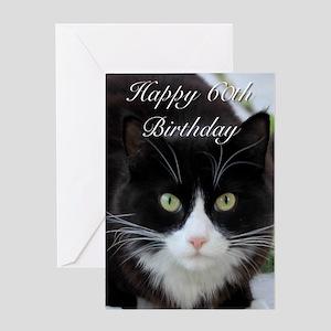 Happy 60th Birthday cat Greeting Cards