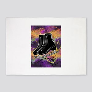 Black Ice Skates and Technicolor Sw 5'x7'Area Rug