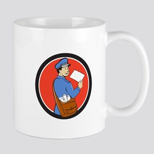 Mailman Deliver Letter Circle Cartoon Mugs