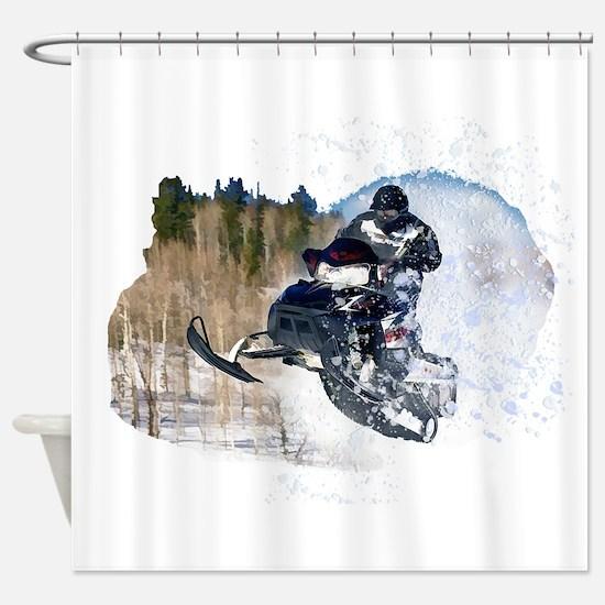 Airborne Snowmobile Shower Curtain