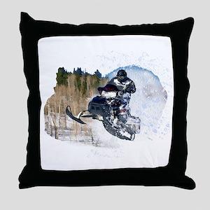 Airborne Snowmobile Throw Pillow