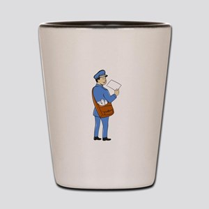 Mailman Deliver Letter Isolated Cartoon Shot Glass