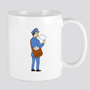 Mailman Deliver Letter Isolated Cartoon Mugs