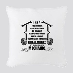 Call me Mechanic Woven Throw Pillow