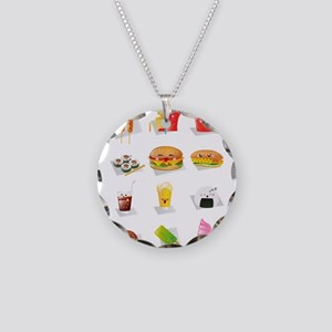 kawaii food Necklace Circle Charm