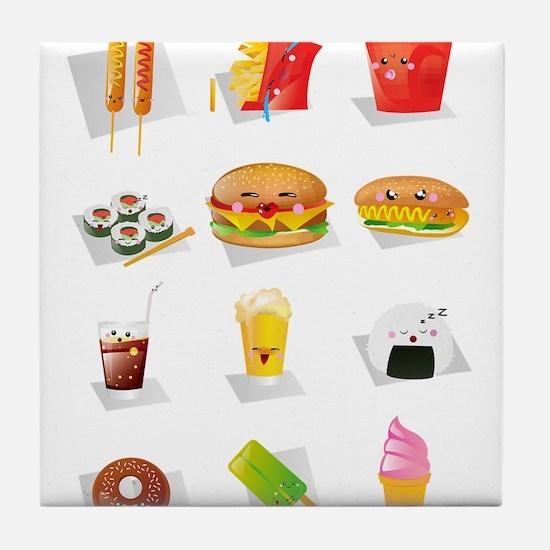 kawaii food Tile Coaster