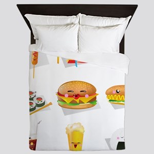 kawaii food Queen Duvet