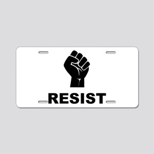 Resist Fist Black Aluminum License Plate