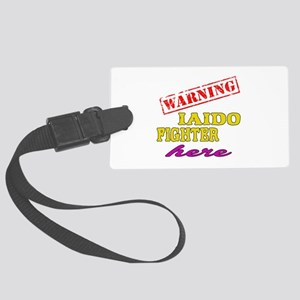 Warning Iaido Fighter Here Large Luggage Tag