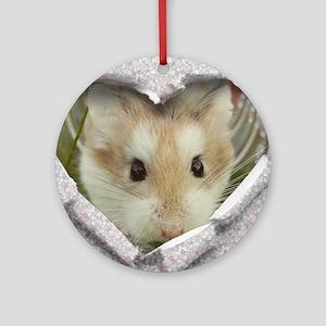 Peep Hole Hamster Round Ornament