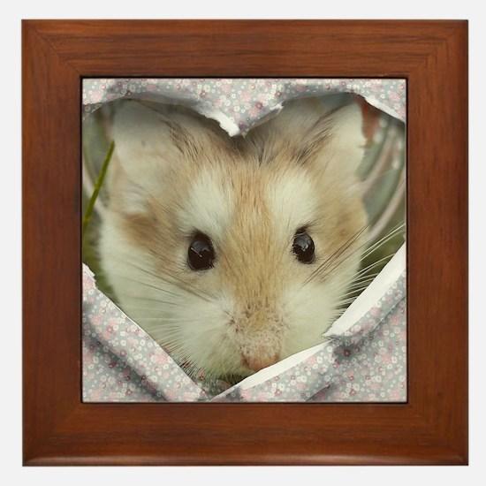 Peep Hole Hamster Framed Tile