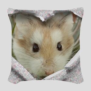 Peep Hole Hamster Woven Throw Pillow