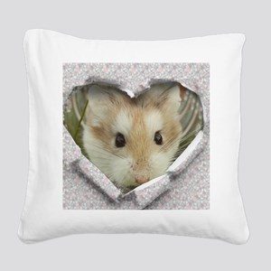 Peep Hole Hamster Square Canvas Pillow