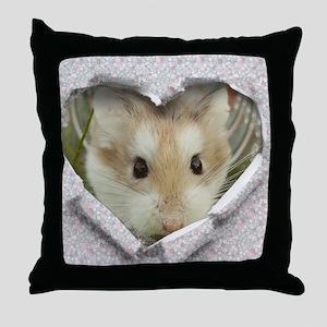 Peep Hole Hamster Throw Pillow