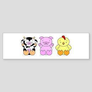 Cute Cow, Pig & Chicken Sticker (Bumper)