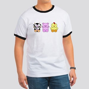 Cute Cow, Pig & Chicken Ringer T