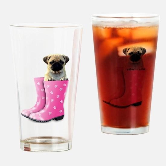 Cute Grey dog Drinking Glass