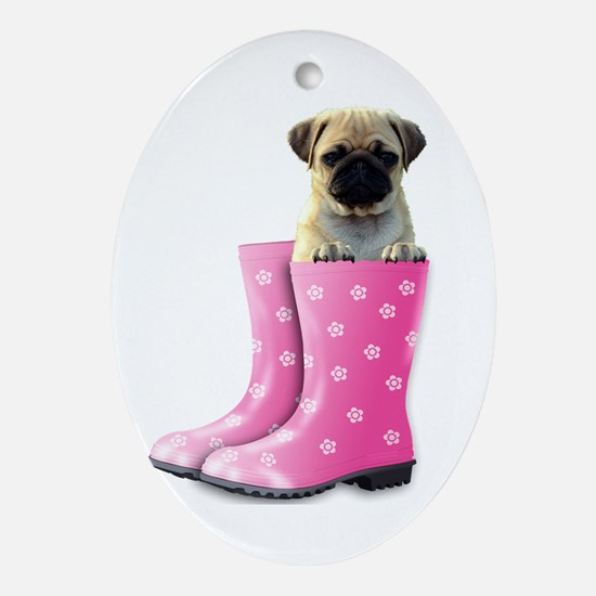 Cute Boots Oval Ornament