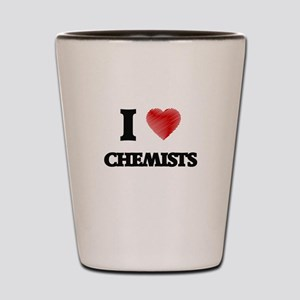 I love Chemists (Heart made from words) Shot Glass