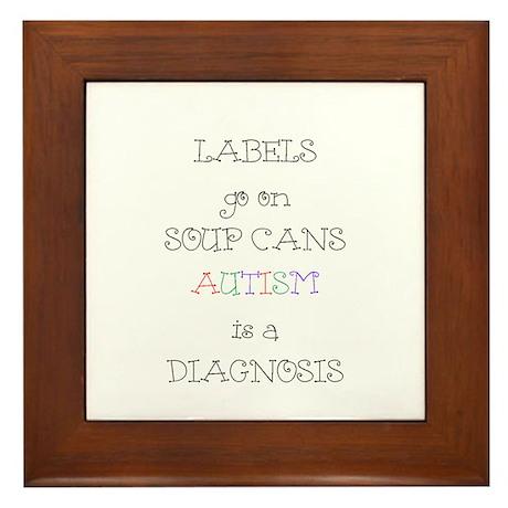 Autism ~ Labels go on soup cans Framed Tile