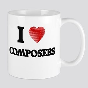 I love Composers (Heart made from words) Mugs