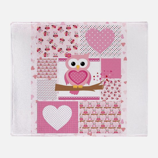 Pink Owl Patchwork Throw Blanket