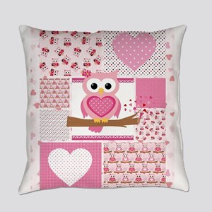 Pink Owl Patchwork Everyday Pillow