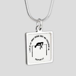 PHILIPPIANS 4:13 Silver Square Necklace