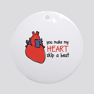 Make My Heart Skip Round Ornament