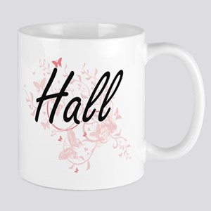 Hall surname artistic design with Butterflies Mugs