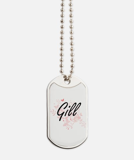 Gill surname artistic design with Butterf Dog Tags