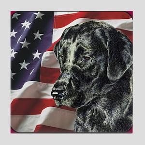 Labrador Retriever Patriotic US Flag Tile Coaster