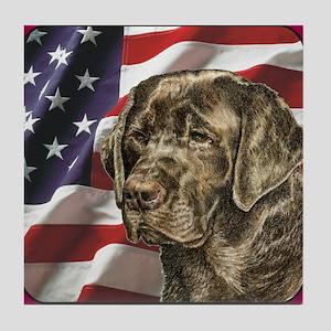 Labrador Retriever Patriotic USA Flag Tile Coaster